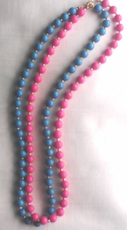 Aqua and Pink Beaded Necklaces, 1 of Each