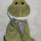 World Market Plush Frog with Gingham Bow