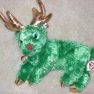 Retired TY Beanie Sleighbelle the Reindeer Green