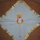 Disney Baby Winnie the Pooh Security Blanket Lovey Teether Rattle with Multi Colored Satin edges
