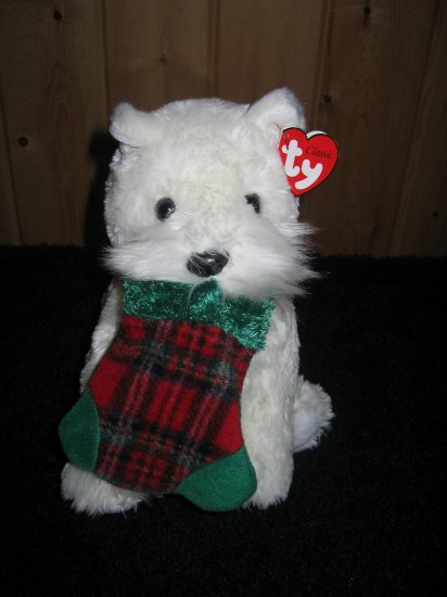TY Classic Retired White Dog named Presents holding a christmas stocking in its mouth 2005