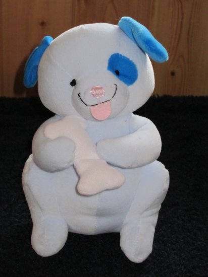 Dakin by Applause Blue Puppy Dog Plush with Rattle  Nick Dog Hugging Bone