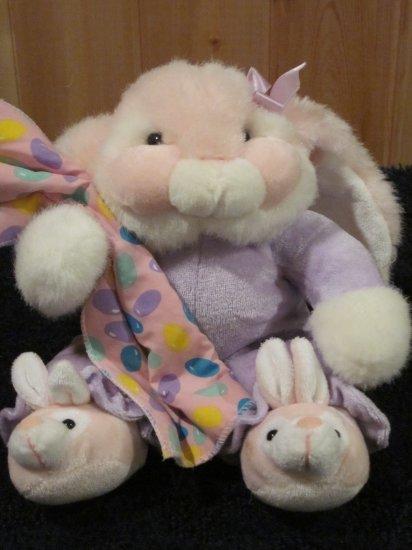 Pink Plush Bunny Rabbit  Jelly Bean Blanket  bunny slippers