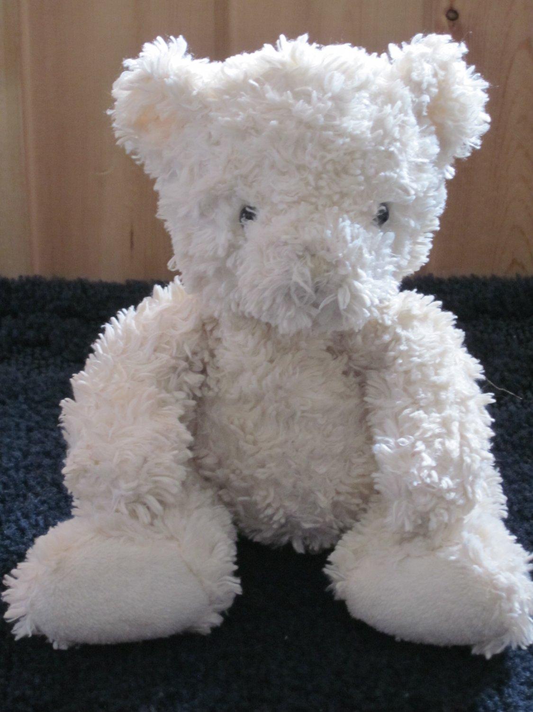 Pbc International White Plush Teddy Bear With Curly Fur