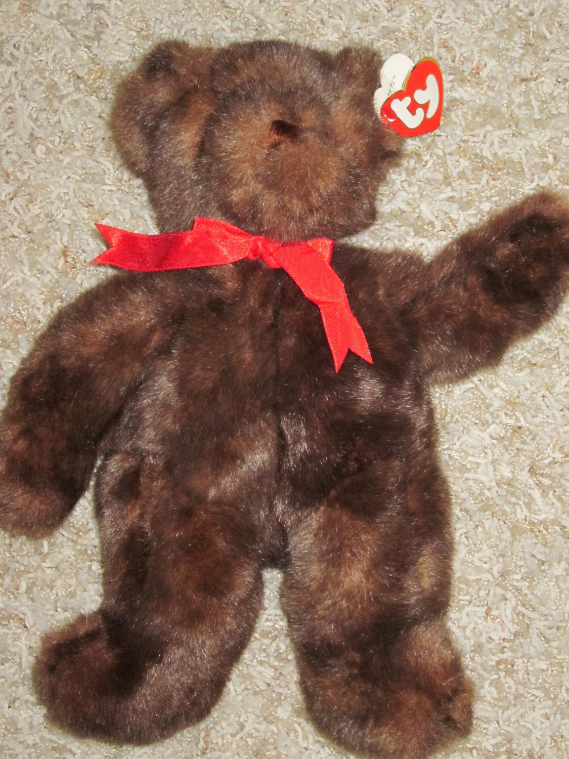 Ty Brown Bear Named Baby Pj Dressed In Red Bow 1995 Teddy