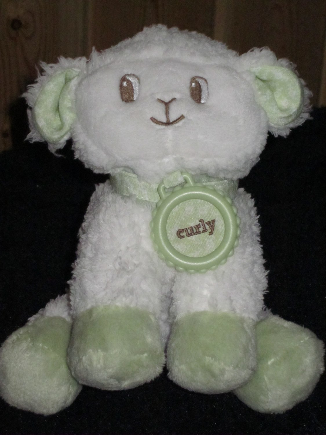 Amy Coe Plush Lamb Named Curly White and Green with a  Rattle inside