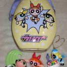 Powerpuff Girls Tin Egg Shaped Carrying Case with Three figures