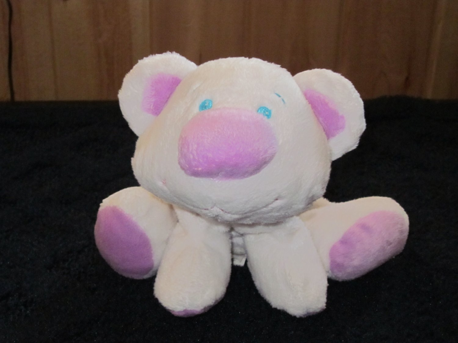 Goffa Plush White Bear Lavender nose blue eyes and it rattles