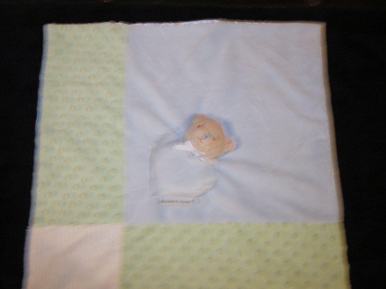 Blankets & Beyond Tan Bear Blue Green Minky Dot Lovey Security Blanket