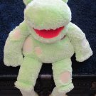 Gymboree Green Plush Frog Puppet with Yellow feet and Polka Dots
