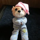 Precious Moments Praying Teddy Bear in Blue Pajamas and Pink hat