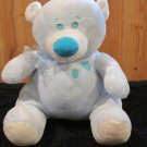 KellyToy Handcrafted Powder Blue Plush Bear Aqua nose