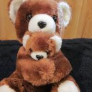 Vintage Brown Mother Teddy Bear holding a Baby plush toy