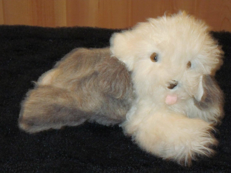 Vintage R. Dakin Plush Grey and White Fluffy Puppy Dog 1982