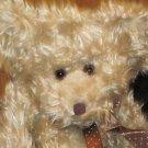 Russ Berrie Tan long haired Teddy Bear with Brown polka dot ribbon #3283