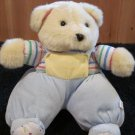 Tan Plush Velour Teddy Bear with overalls and striped shirt