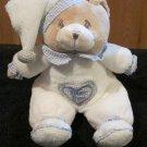 Tan Teddy Bear in White Pajamas Baby Boy in Heart on Tummy