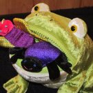 Mary Meyer Shiny PLush Green Frog with Zipper Mouth and two Bugs