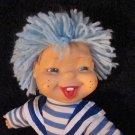 Vintage plush Doll blue yarn hair