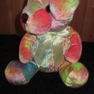 Plush Tie Dye Puppy Dog with light green ribbon