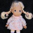 "1998 Precious Moments Plush 7"" Doll Blonde Braids Print dress"