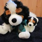 Commonwealth Plush Black and White Dog with Baby Puppy St Bernard