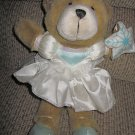 Nutcracker Bear Snow Queen Plush Teddy Bear in satin dress holding a snowflake