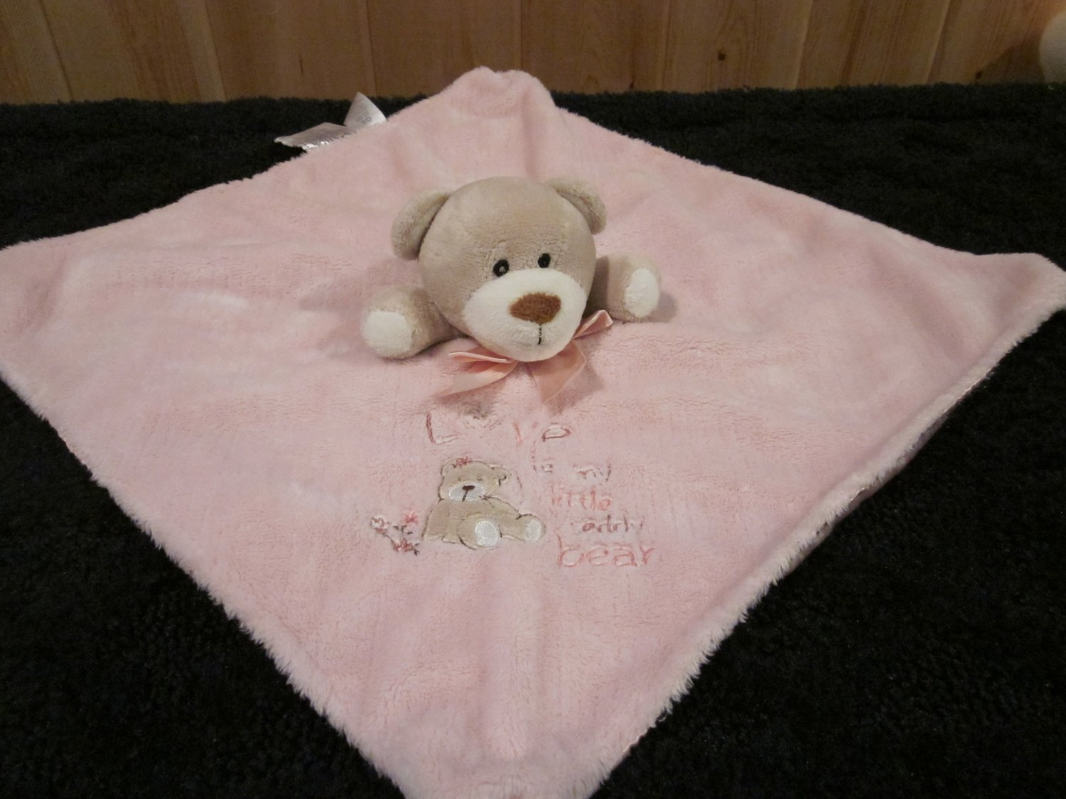 Carters OS Pink Security Blanket with Tan Bear with Love is my Little Teddy Bear