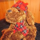 Friendzies Chocolate Brown Plush Floppy Style Dog with red plaid hat and scarf