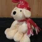 Mary Meyer Sweet Rascals White and Tan Plush dog wearing a hat and scarf