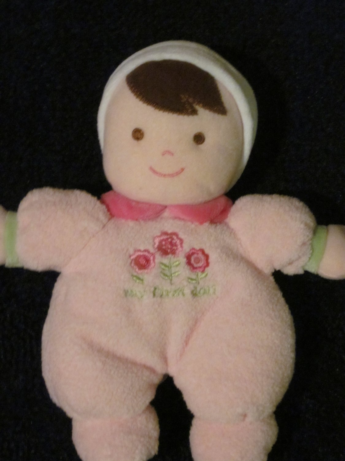 Carters Just One Year Plush Pink Doll Rattle My First Doll Dark Hair Brown eyes