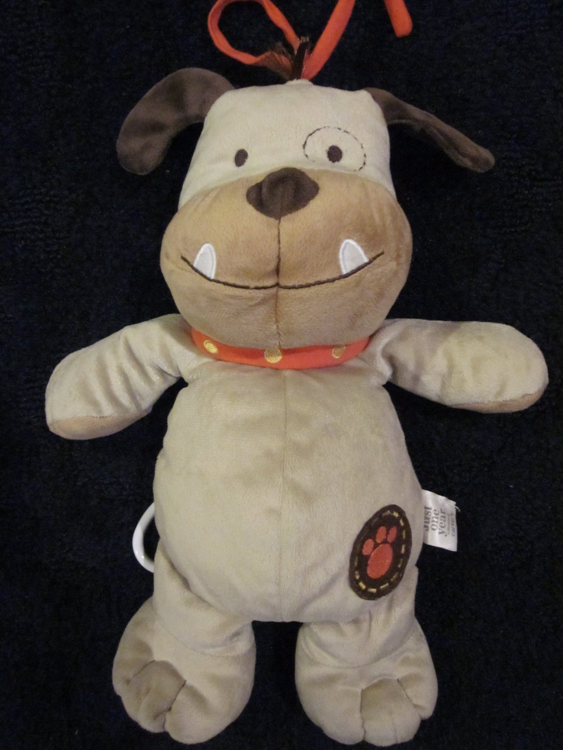 Carters Just One Year Tan Brown Bull Dog Musical Crib Toy Plush