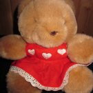 "Mary Meyer 8"" Round Teddy Bear in Red Dress with White Hearts"
