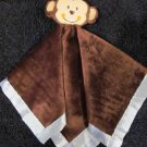 Baby Essentials by A D Sutton Brown Monkey Blue Satin Security Blanket  Lovey Plush Rattle