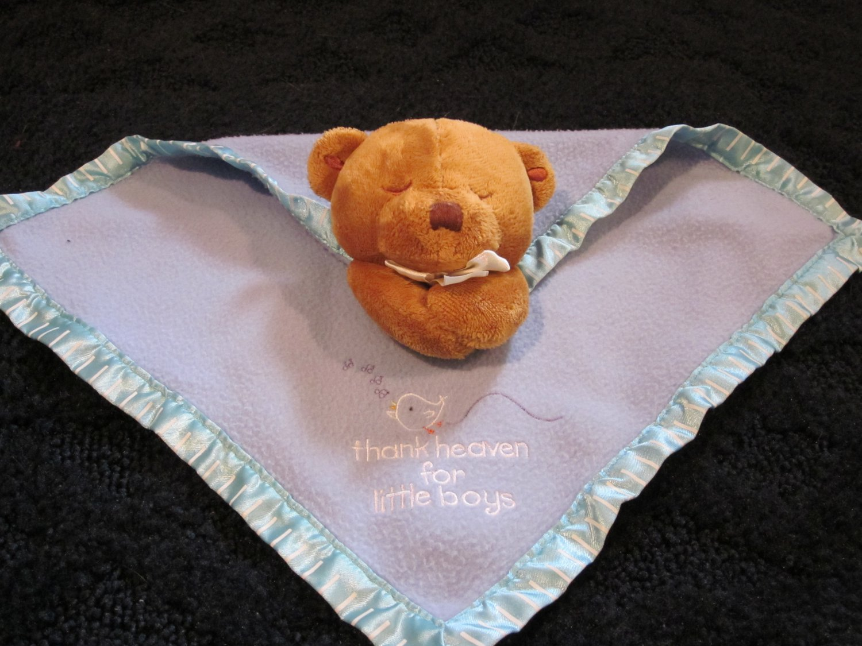 Kids II Teddy Bear Security Blanket Prays and Thank Heaven for little Boys