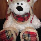 HugFun White Polar Bear Plaid cap scarf boots