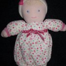 Carters plush Doll blonde blue eyes flower print dress pink hat 39455 Plush Rattle