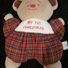 Snuggie Toy Plush Tan Teddy Bear Lovey Plaid with My 1st Christmas