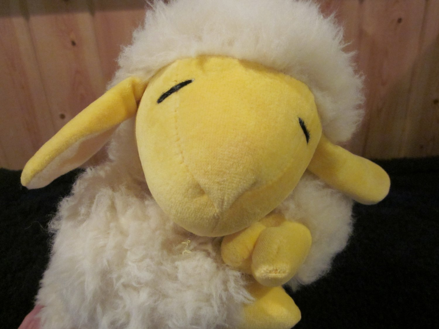 Manhattan Plush Fluffy White lamb with Yellow face and feet from 1991