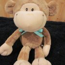 Galerie Plush Smiling Brown Monkey Lovey with aqua green bow