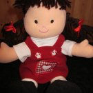 Lillian Vernon Plush Doll with Brown Hair eyes and red dress