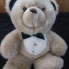 MTY International Plush Teddy Bear Dressed up with green bow tie and gold buttons