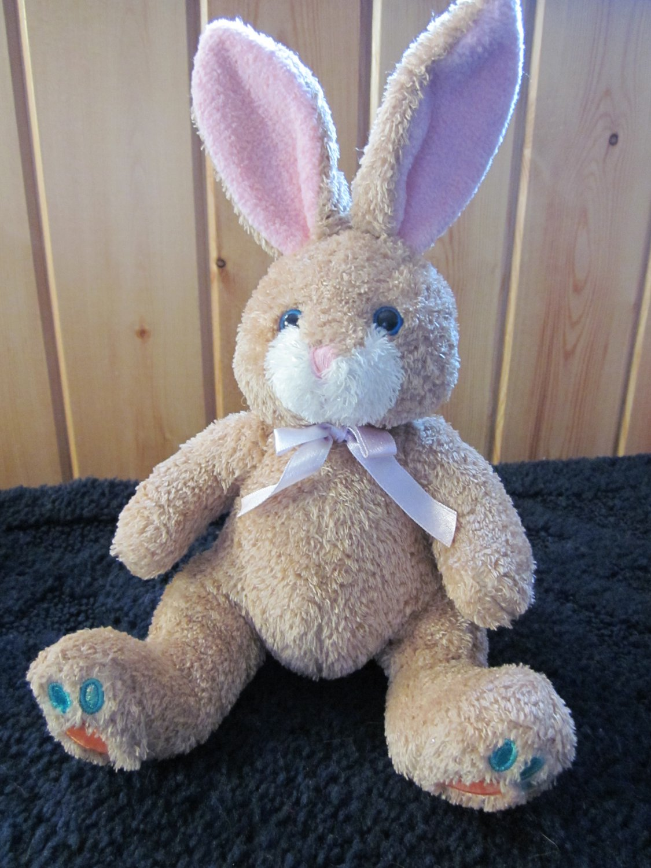 Tan Plush Bunny Rabbit with Posable Ears Carrots on feet