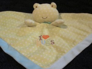 Carters Just one Year I Love (heart) Hugs  Green Frog White Dots Security Blanket Rattle Love