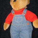 Dex Products Cub Cola Denim Plush  Bear wearing overalls Musical or womb Sounds