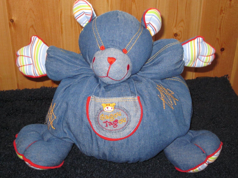 Gagou Tagou Plush Denim Bear named Tag with stripes and gold stitching