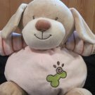 KellyToy Plush Tan Puppy Dog Pink outfit Green bone Baby Toy Rattle