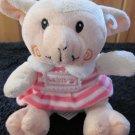 KellyToy Plush White Lamb in Pink striped dress