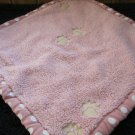 Pink Minky soft Security Blanket with White Polka Dots and paw prints