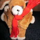 """Vintage Avon Plush Brown 5"""" Mini Puppy Dog with Fur Jacket and scarf"""